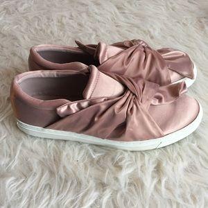 Steven Madden Cyrus pink satin sneakers slip-on